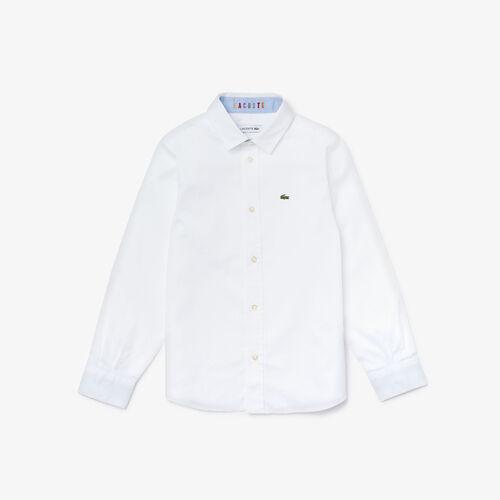 قميص للصبيان من قطن أوكسفورد ولمسات نهائية بلون مغاير