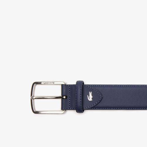 Men's Lacoste Engraved Buckle Piqué Canvas Belt