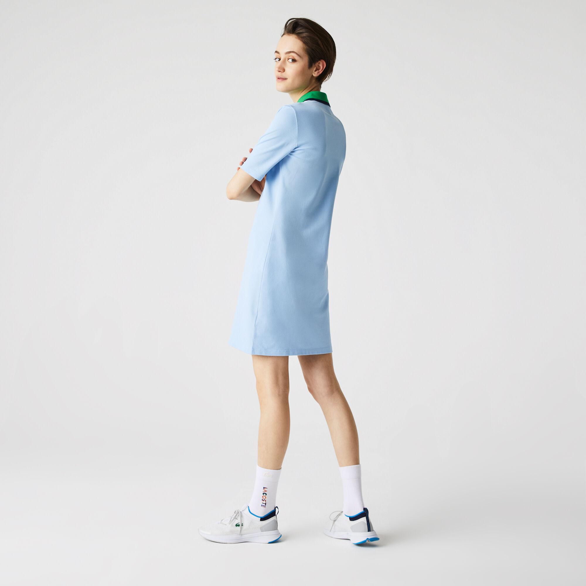 فستان بولو نسائي من قطن بيكيه المرن ذو ياقة متباينة
