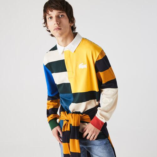 قميص بولو قطني للرجال تصميم الرجبي بكتل لونية وقصة فضفاضة مجموعة Lacoste Live