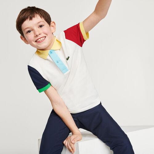 Boys' Lacoste Colorblock Cotton Piqué Regular Fit Polo