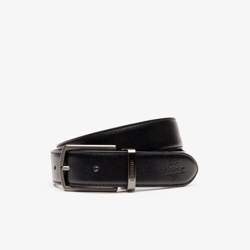 Men's Reversible Leather Belt And 2 Buckles Gift Set