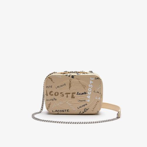 حقيبة كتف نسائية بسحاب جلد محبب بطبعة Croco Crew