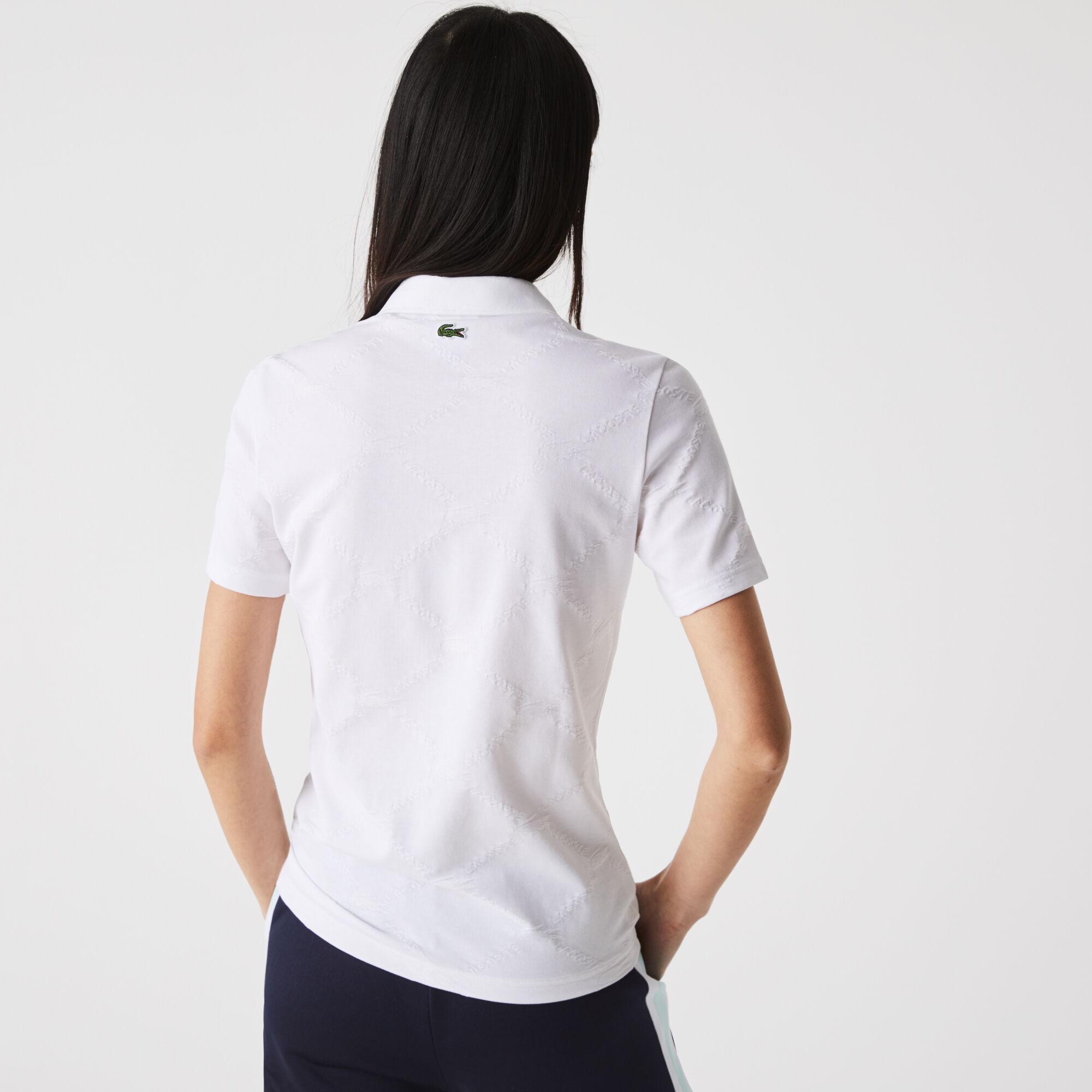 Women's Lacoste LIVE Slim Fit Monogram Patterned Polo