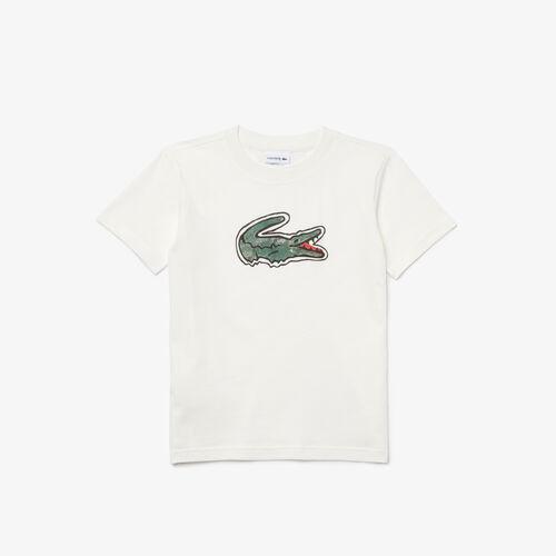تي شيرت قطني للأولاد مع طباعة التمساح