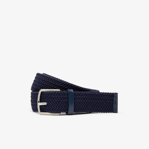 Men's Lacoste Engraved Buckle Stretch Knitted Belt