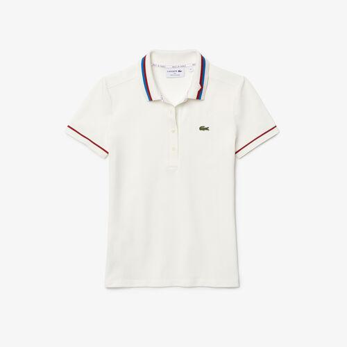 قميص بولو نسائي مصنوع في فرنسا من قطن بيكيه العضوي بقصة ضيقة