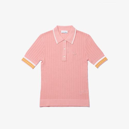 قميص بولو محبوك كم مخطط للنساء قصة ضيقة