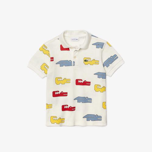 قميص بولو Lacoste للصبيان بقصة عادية من قطن بيكيه بطبعة التمساح