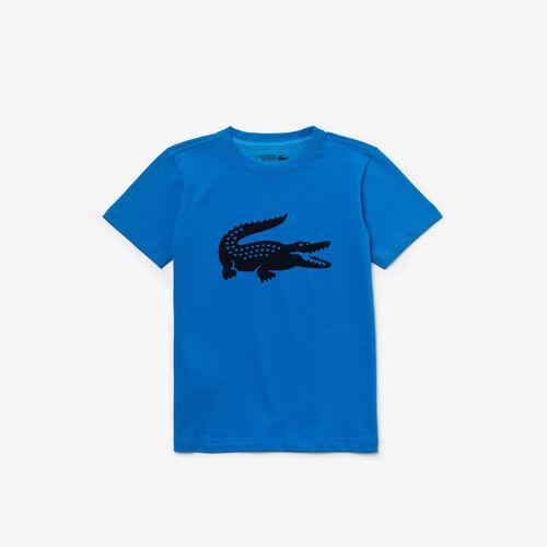 تي شيرت جيرسيه عملي للتنس مع شعار التمساح بحجم كبير من مجموعة Lacoste Sport للأولاد