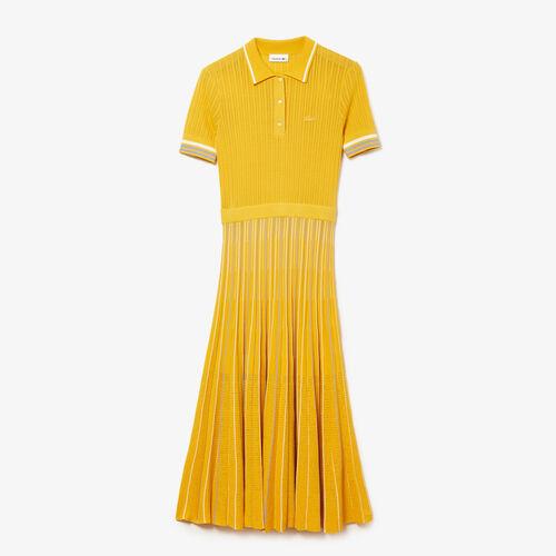 فستان بولو مع تنورة بطيات للنساء من القطن