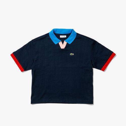قميص بولو قطني للبنات بتفاصيل من الكتل اللونية