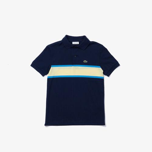 قميص بولو بيكيه القطن للأولاد بخطوط مقلمة متباينة