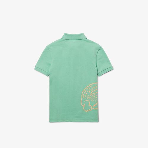 قميص بولو من بيكيه القطن للأولاد مع طباعة التمساح