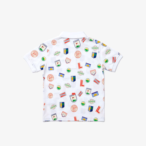 قميص بولو من بيكيه القطن للأولاد بطبعات شارة Lacoste