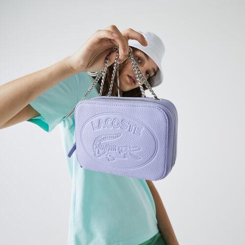حقيبة كتف بسحاب من الجلد المحبب مجموعة Croco Crew للنساء