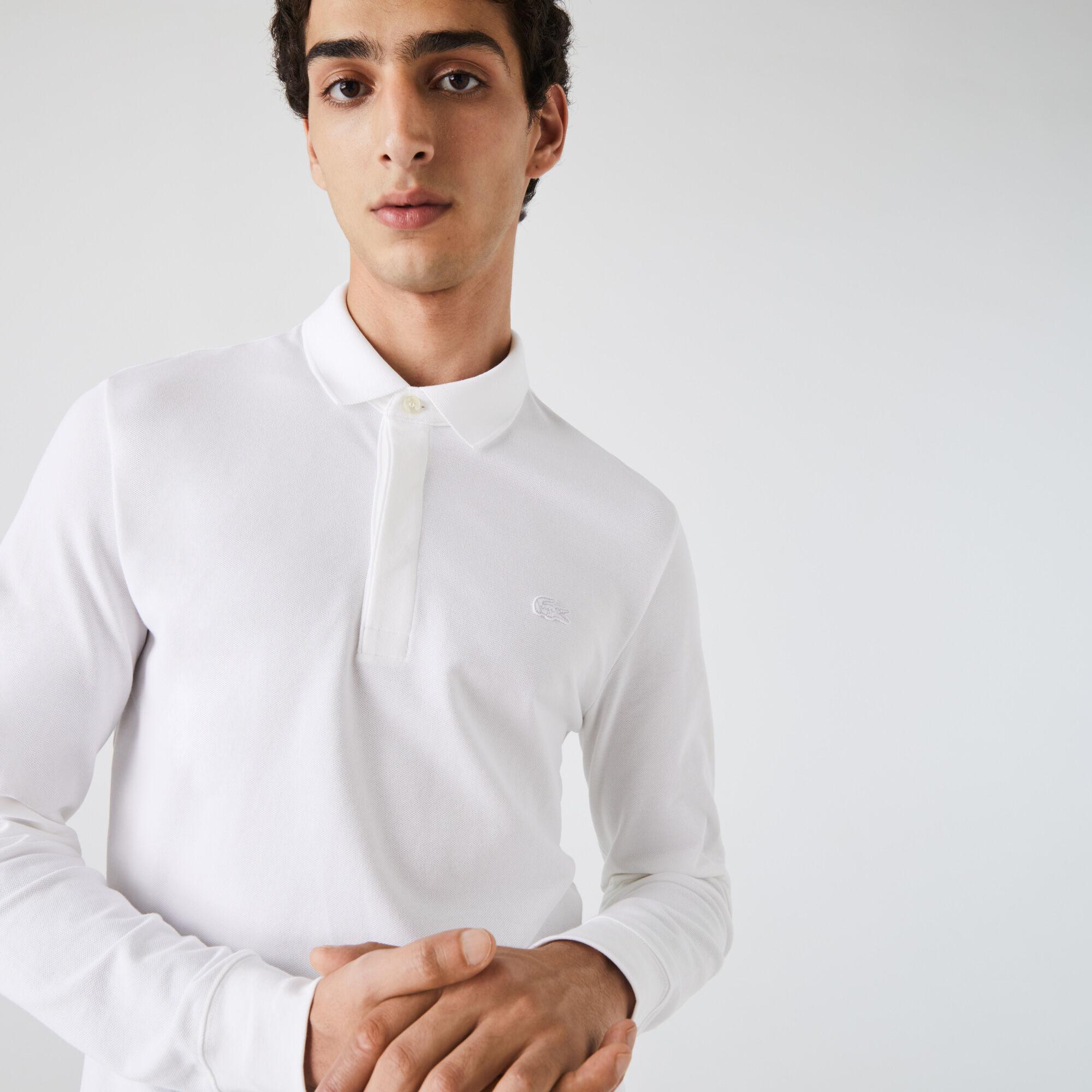 Men's Long-sleeve Lacoste Paris Polo Shirt Regular Fit Stretch Cotton Piqué