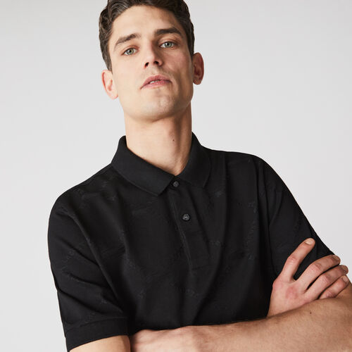 قميص بولو بأنماط مونوغرام وقصة اعتيادية مجموعة Lacoste Live للرجال