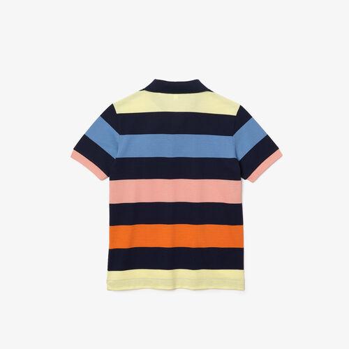 Boys' Lacoste Striped Cotton Piqué Regular Fit Polo